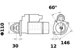 Starttimoottori Mahle IS0203 (Fiat)