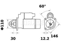 Starttimoottori Mahle IS0409 (Fiat)