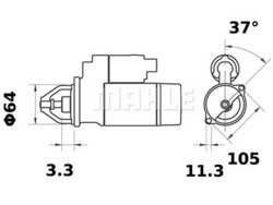 Starttimoottori Mahle IS1047 (Dacia, Nissan, Renault)