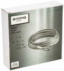 Ennakkomyynti! StrongLine Vinssin vaijeri 4500LB 6,0mm X 15,2m