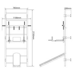 K-Sport puolapuut leuanveto/dippitelineellä ja vatsalihaspenkillä
