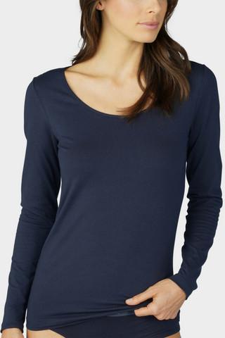 MEY tummansininen puuvilla pitkähihainen paita