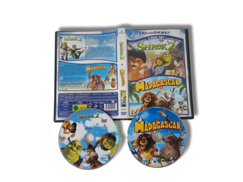 Lasten DVD-elokuva (Shrek 2 & Madagascar) S