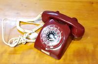 Retro puhelin - viininpunainen (LM Ericsson)