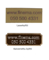 Logo/nimilaatta saunatuulettimeen