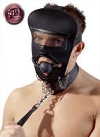 Maski suupalolla, kaulapannalla ja taluttimella