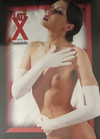 Latex - Valkoiset pitkävartiset latex sormikkaat