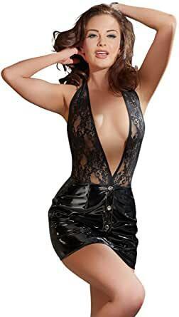 Kiiltävä musta vinyyli - Pvc mekko jossa avoin yläosa pitsiä S-koko