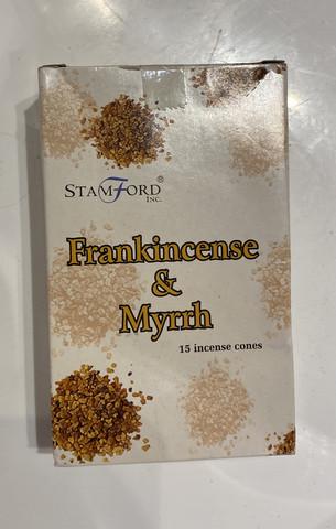 Frankincense & Myrth Incense Cones kartion mallinen suitsuke setti