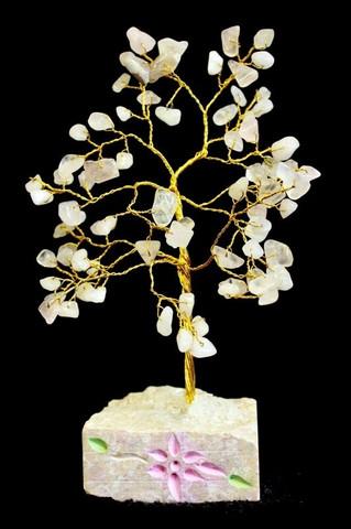 Rose Quartz Tree 80 kiveä - Rautalankapuu aidoilla ruusukvartsikivillä