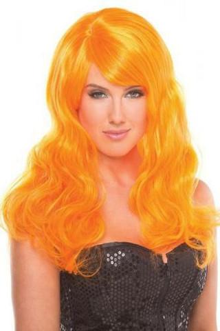 Peruukki - O Ou Orvokki oranssi, pitkä hiuksinen peruukki näkyy