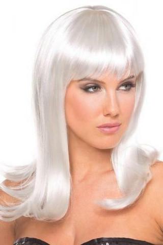 Peruukki - platino blondi huikea valkoinen yli pitkä polkkatukka