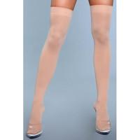 Nuden vaalean beigen väriset yli polven yltävät sukat