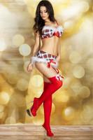 Puna-valkoinen jouluasu setti