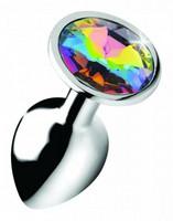 Anaalitappi sateenkaaren värisellä kivellä - Rainbow Gem plug pieni