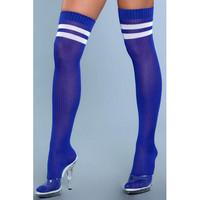 Yli polven sukat -  paksut ja pitkät polvisukat kirkkaan siniset