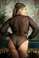 Bodysuit body läpinäkyvä ja ryhdikäs yläosa isossa koossa