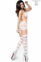 Bileasu, verkkoasusetti, näyttävä kolmiosainen asusetti valkoinen