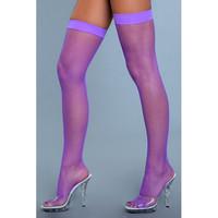 Nylon fishnet thigh highs violetit verkkosukat sukkanauhaliiviin