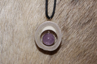 Reindeer Horn Necklace with 14mm Stone Pearl Amethyst