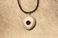 Reindeer Horn Necklace with 8mm Stone Pearl Amethyst