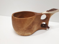 Carved wood cup with reindeer horn