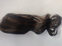 Hair Contrast - Ponytail - Dark Brown with Highlights - Curly