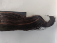 Hair Contrast - Ponytail Dark Brown With Caramel Highlights