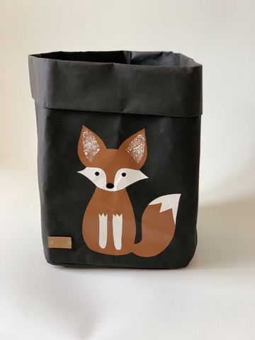 Fox storage basket black, brown fox M-size ENJOY YOUR LIFE BY DEMI