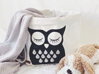Owl storage basket white L-size ENJOY YOUR LIFE BY DEMI