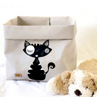 Cat storage basket, grey black cat, L-size ENJOY YOUR LIFE BY DEMI