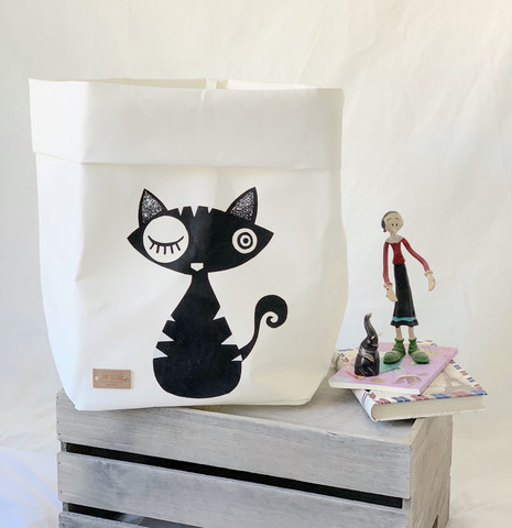 Cat storage basket white, black cat L-size ENJOY YOUR LIFE BY DEMI