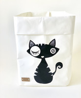 Cat storage basket, white black cat S-size ENJOY YOUR LIFE BY DEMI