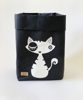 Cat storage basket black, white cat S-size ENJOY YOUR LIFE BY DEMI