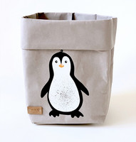 Penguin storage basket, grey S-size ENJOY YOUR LIFE BY DEMI