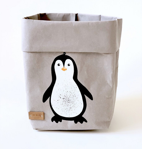 Penguin storage basket, grey M-size ENJOY YOUR LIFE BY DEMI