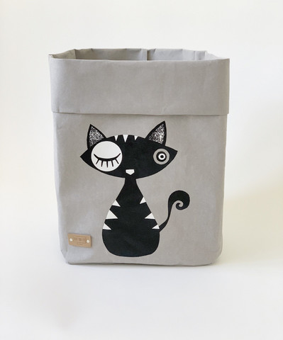 Cat storage basket, grey black cat S-size ENJOY YOUR LIFE BY DEMI