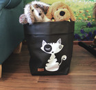Cat storage basket black, white cat M-size ENJOY YOUR LIFE BY DEMI