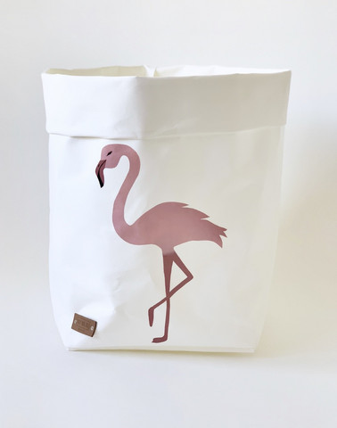Flamingo storage basket, white S-size ENJOY YOUR LIFE BY DEMI