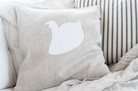 TEIJA HELIN DESIGN Swan cushion cover beige