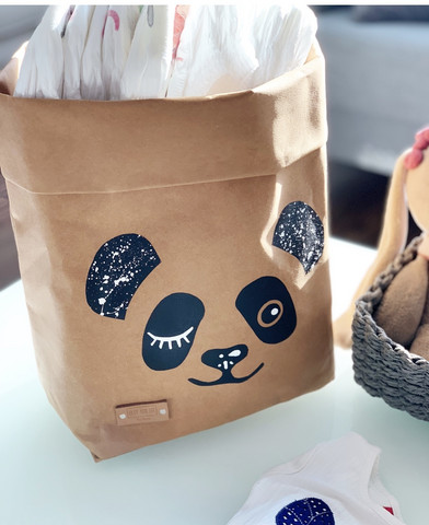 Panda storage basket, brown S-size ENJOY YOUR LIFE BY DEMI