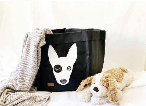 Bullterrier storage basket, black L-size, ENJOY YOUR LIFE BY DEMI