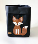 Fox storage basket, black S-size, ENJOY YOUR LIFE BY DEMI