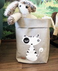 Cat storage basket, grey, white cat M-size ENJOY YOUR LIFE BY DEMI