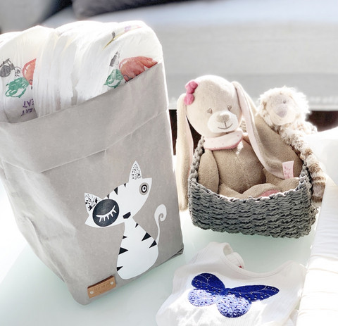Cat storage basket, grey white cat, S-size ENJOY YOUR LIFE BY DEMI