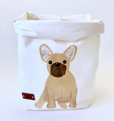 French Bulldog storage basket, white M-size, ENJOY YOUR LIFE BY DEMI