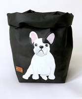 French Bulldog storage basket, black S-size. MODEL 2. ENJOY YOUR LIFE BY DEMI