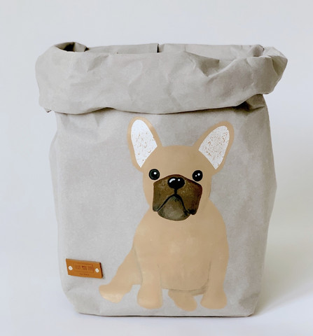 French Bulldog storage basket, grey M-size, ENJOY YOUR LIFE BY DEMI