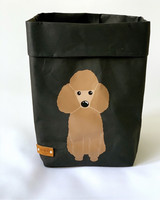Poodle storage basket, black S-size. ENJOY YOUR LIFE BY DEMI