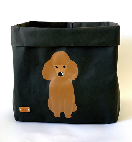 Poodle storage basket, brown L-size, ENJOY YOUR LIFE BY DEMI